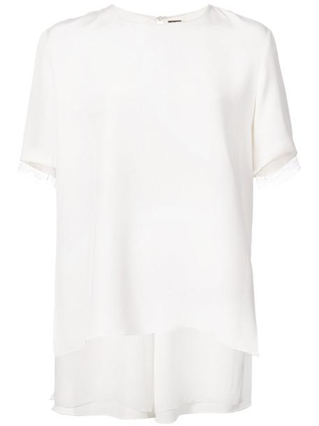 Adam Lippes blouse women lace white silk top