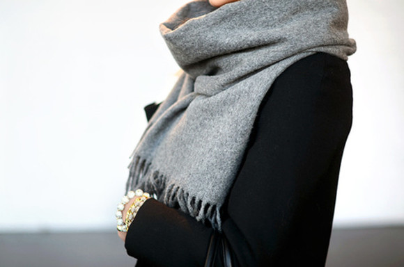 likeaboss scarf style grey scarf with strings hanging fashion gray winter outfits