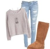 sweater,ugg boots,acid wash,denim,jeans,dreamcatcher,necklace,dreamcatcher necklace,knitted sweater,jewels