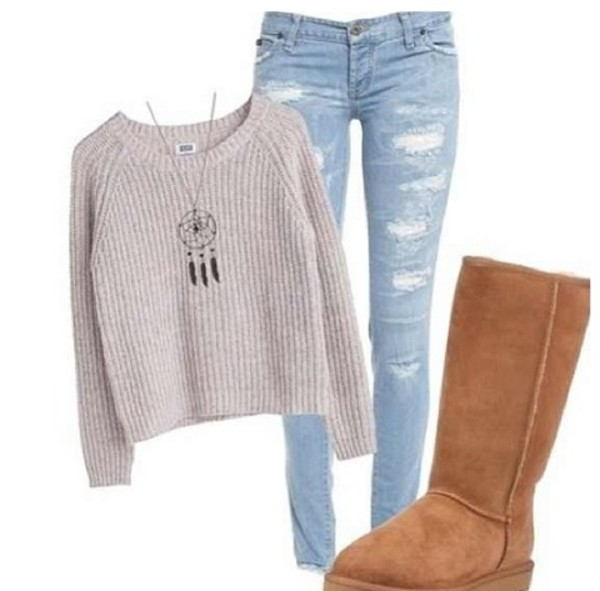 sweater ugg boots acid wash denim jeans dreamcatcher necklace dreamcatcher necklace knitted sweater jewels