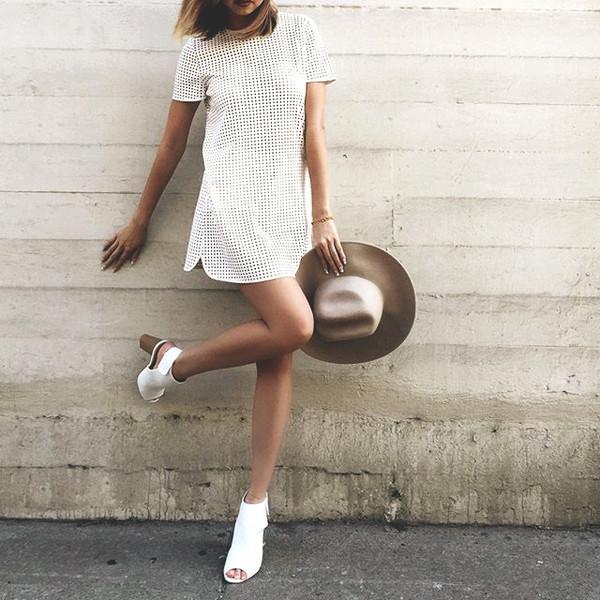 Dress White White Dress Short Dress Shapeless Dress Short Shapeless Style Cute Summer