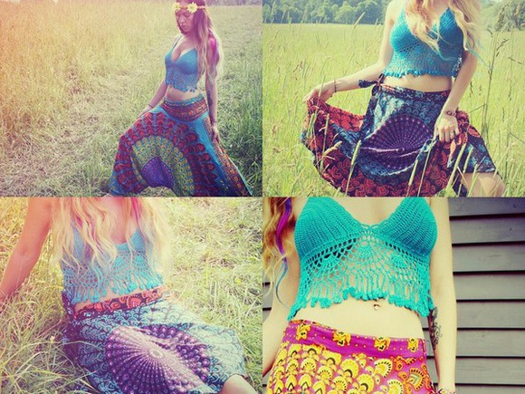 crochet top music festivals skirt boho tank top hippie chic bohemian style fringed  top handmade hippie top 1