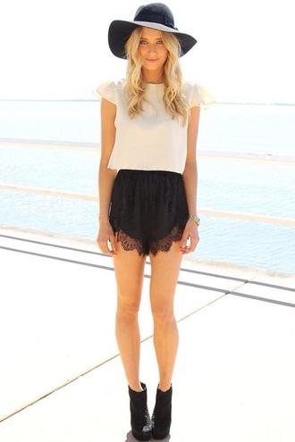 shorts black shorts lace trimmed shorts