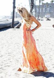 cheyenne meets chanel,dress,shoes,jewels,sunglasses,maxi dress,stacked bracelets,blonde hair,beach