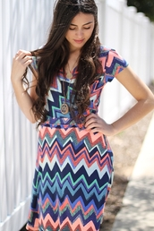 dress,wrap dress,chevron,zigzag print,multicolor