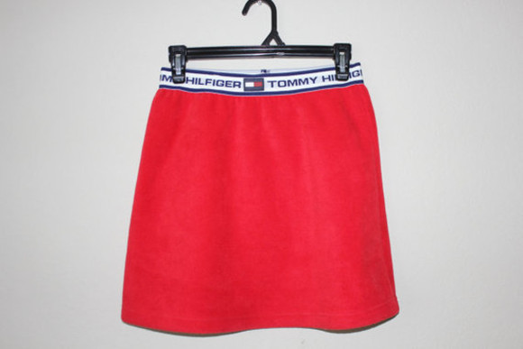 red skirt tommy hilfiger red skirt 90's
