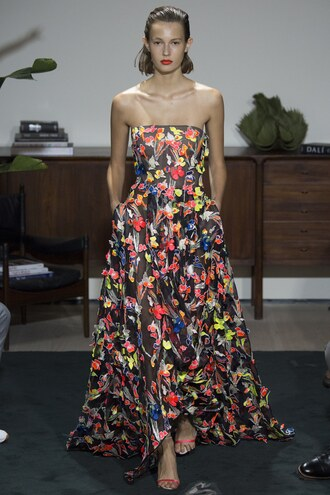 dress colorful gown prom dress runway model jason wu ny fashion week 2016 flowers flowy dress
