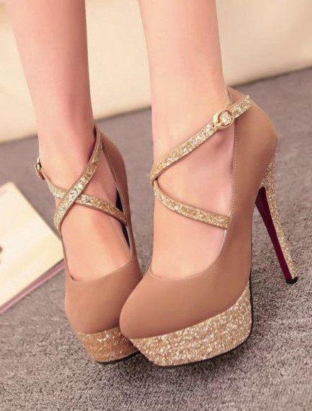 shoes brown shoes heels glitter gold brown high heels strappy heels strappy sandals