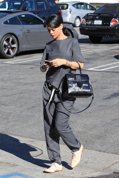 jewels earrings top rihanna alexander wang pants