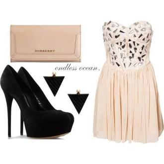 dress cream cream dress bustier dress chiffon high heels burberry cute