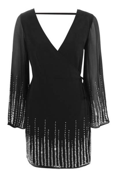 Topshop dress wrap dress embellished black