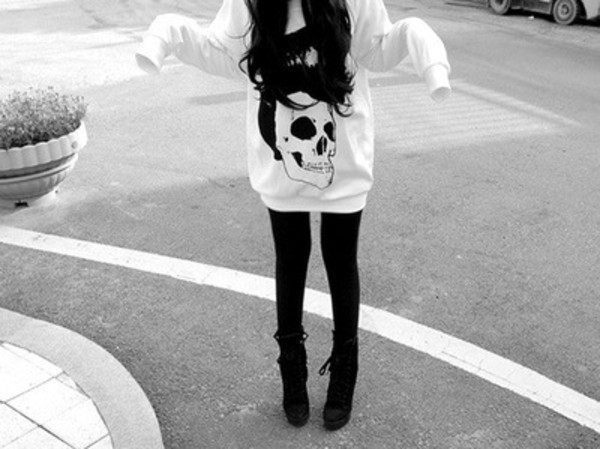 sweater skull oversized ulzzang ulzzang oversized sweater top