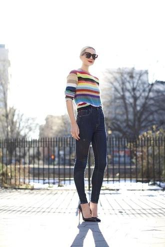 atlantic pacific blogger striped sweater multi color