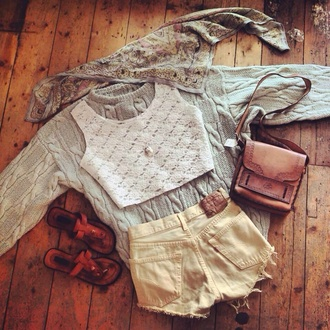 shorts vintage brown shorts blouse sweater bag
