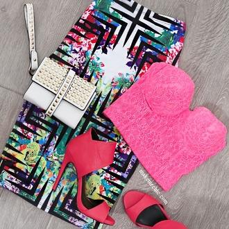 skirt midi skirt clutch bustier heels high heels top gloves shorts