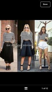 skirt,black long silk bubble skirt,blouse,stripes crop top black and white lomgsleeve stripy,long sleeves