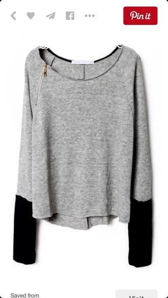 sweater grey black zip
