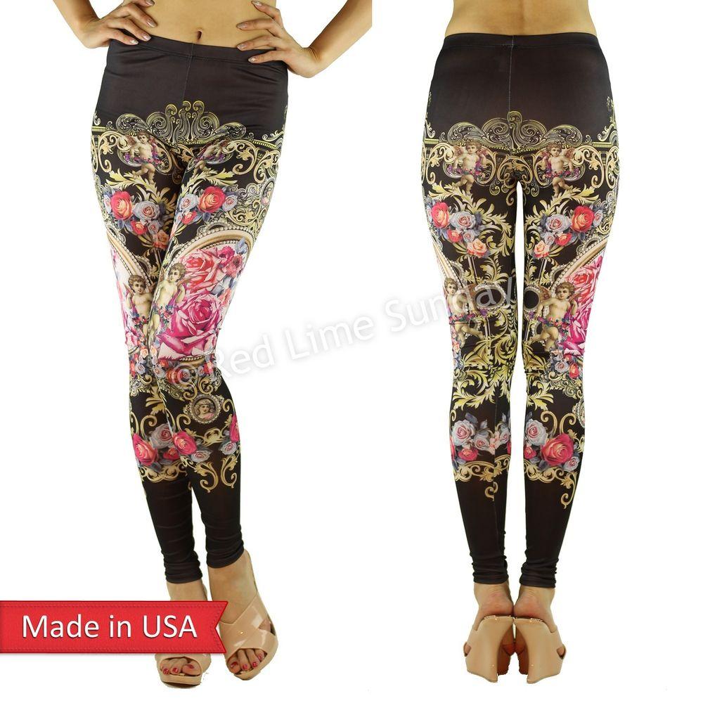 Women angels baroque floral flower art print black leggings tight pants usa