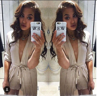 jumpsuit romper mocha playsuit cape low cut tie up playsuit tie up v neck mocha jumpsuit