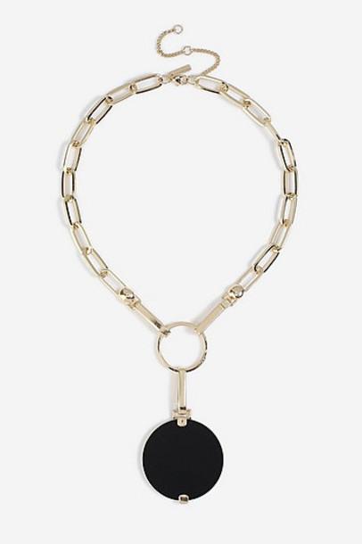 TopShop *Enamel Disc Pendant Necklace - Black