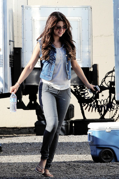 jacket vest top denim selena gomez