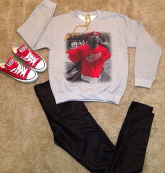 pants tupac shirt tupac sweater black pants red chucks chuck taylor all stars red gangsta