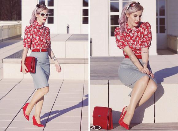 Belt blogger blouse like a riot red heels pencil skirt pouch