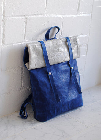 bag blue backpack backpack leather bag handbag