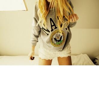 sweater navy crewneck gray sweater