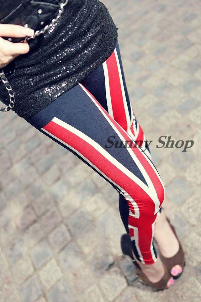 New fashion women uk british flag leggings tights legwear pants size m l