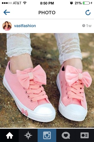 shoes pink bow converse