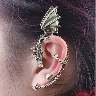 jewels ear cuff earrings vintage dragon earrings