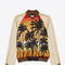 Saint laurent teddy jacket in beige, red, yellow and black palms at sunset printed viscose | ysl.com