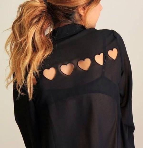 blouse black heart cute heart cut-out