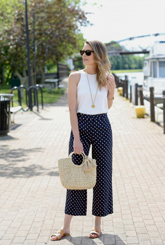 top tumblr white top sleeveless sleeveless top bag basket bag pants polka dots culottes sandals slide shoes shoes