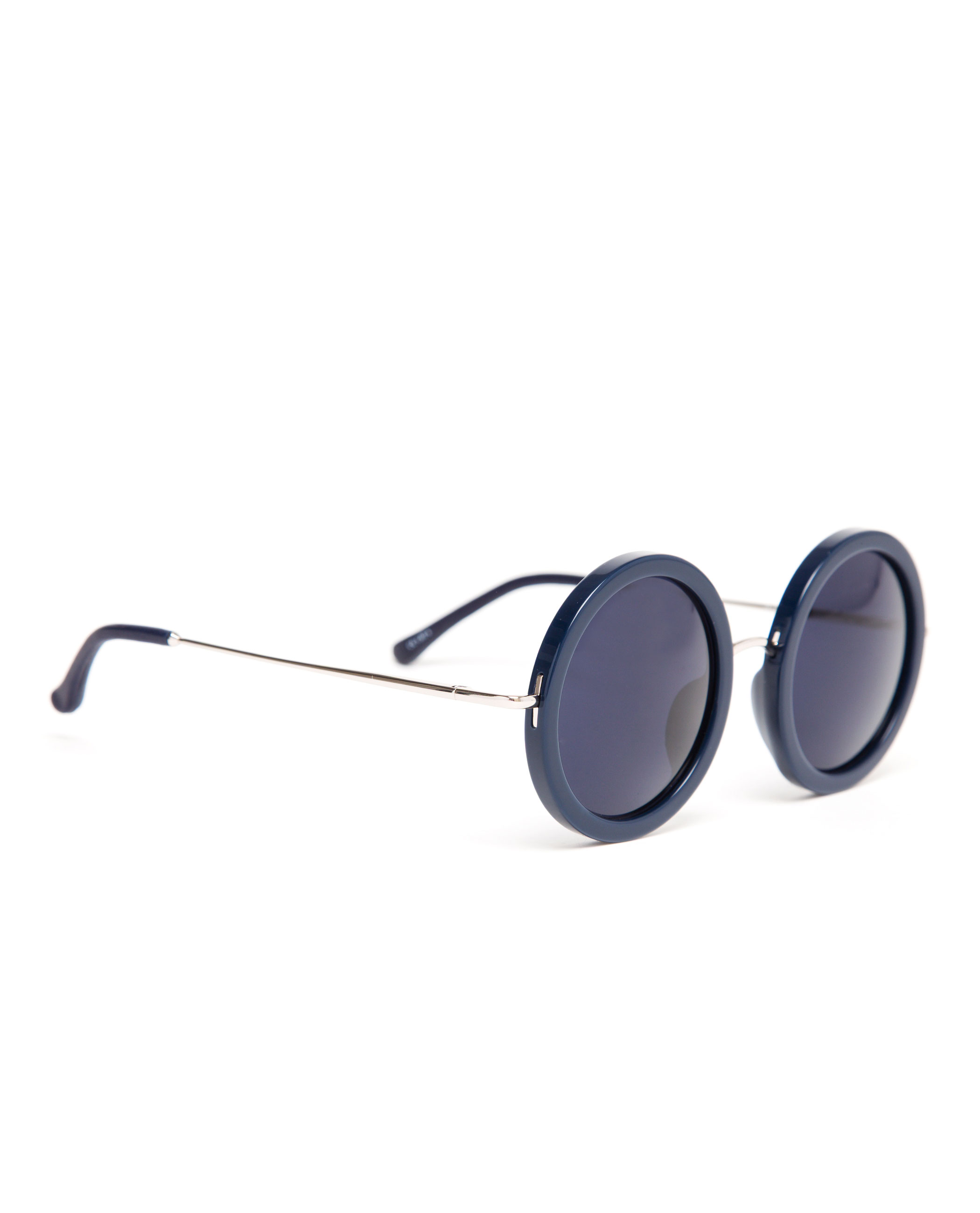 Navy Round Frame Sunglasses