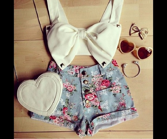 bows cute top bow top white white crop tops
