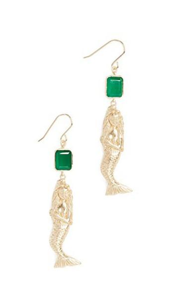 Elizabeth and James mermaid earrings gold green jewels