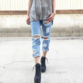 jeans denim ripped boyfriend jeans ripped jeans