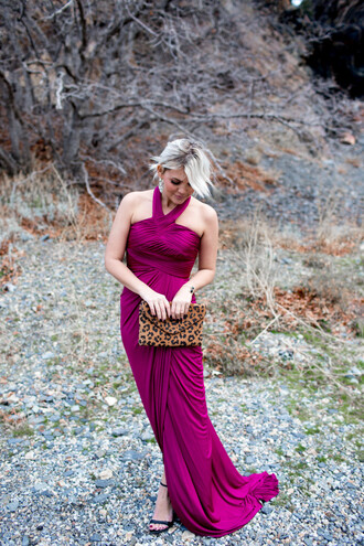 wild one forever - fashion & style by kristin blogger dress shoes bag jewels evening dress gown halter dress purple dress clutch sandals high heel sandals