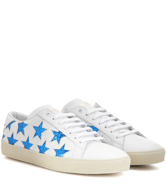 Saint Laurent Court Classic Sl/06 Star Embellished Leather Sneakers in white