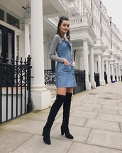 dress,grey top,mini dress,black dress,top,turtleneck,boots,over the knee boots,black boots