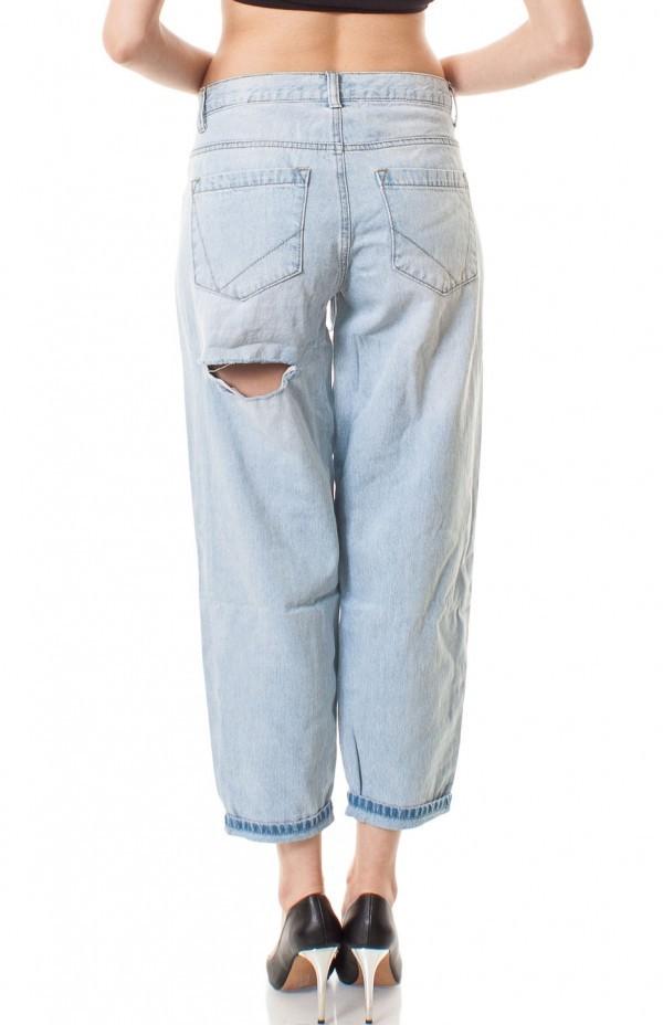 Distressed denim boyfriend jeans