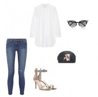 helena bordon blogger sandals white shirt cat eye