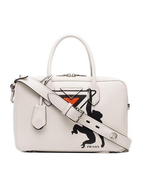 666d50d92c748f Prada White Monkey Print Leather Bowling Bag - Farfetch