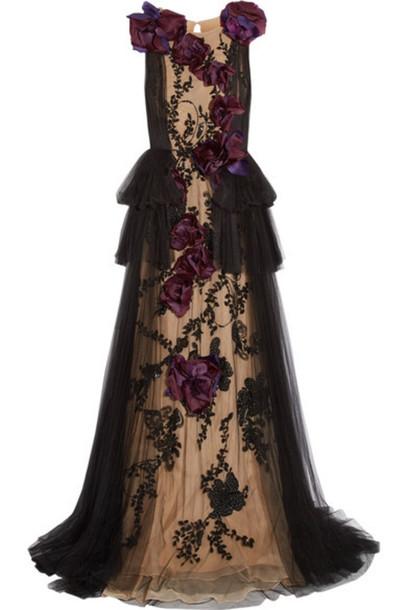 8cfc1a63 Marchesa - Organza-appliquéd Embellished Tulle Gown - Black - Wheretoget