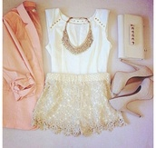 jewels,white tank top,gold jewelry,cream high heels,blouse,cream blouse,statement necklace,necklace,high heels,purse,shoes,top,shorts,tank top,bag,pink blazer,lace shorts,clutch,jacket,shirt,b&w,studs,jeans,demin,demin shorts,clothes,coat,white,sleeveless,outfit,jeniffer lawrence