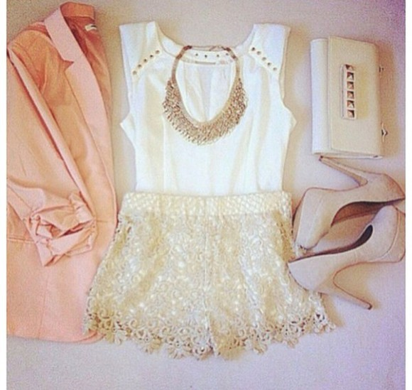 white tank top tank top high heels shoes jewels blouse shorts gold jewelry cream high heels blouses cream blouse statement necklace necklace purses tops bag