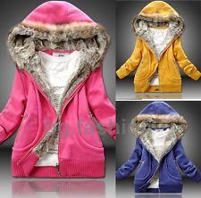 OVERSIZE Damen Winter Jacke mit Kapuze warm Hoodie Reißverschluss Mantel Sweats | eBay