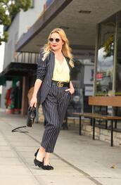 thehuntercollector,blogger,top,shoes,jewels,belt,bag,suit,blazer,striped pants,striped jacket,pumps,gucci belt